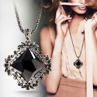 EG_ Women Retro Inlaid Diamond Pendant Necklaces Long Chain Sweater Necklace Fit