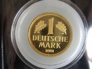 BRD 2001 , 1 DM Gold (1 Goldmark J) in Münzkapsel! Top Zustand!