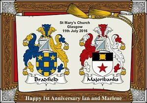 Personalised Coats of Arms , Family Crest,  Wedding, Engagement, Anniversary .