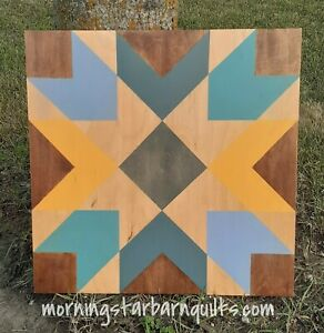 """New Rustic Wood Barn Quilt Hand Painted Chevron Star Quilt Pattern 20""""x20"""""""