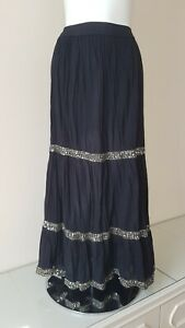 Ladies Banjara Crinkle Cotton Gypsy Style Maxi Skirt With Sequined Detailing...