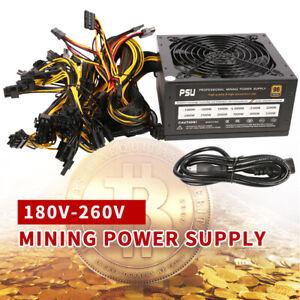 2000W Modular Mining Power Supply PSU 8 Graphics GPU Rig Ethereum Miner