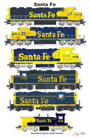 "Santa Fe Blue Locomotives 11""x17"" Railroad Poster by Andy Fletcher signed"