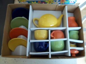 Vintage Crate & Barrel-Schylling Child's 13 Piece Multi Colored Retro Tea Set