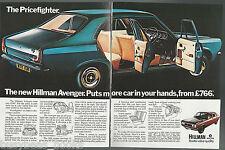 1970 HILLMAN AVENGER 2-page advertisement, British advert