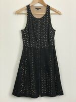 PORTMANS Womens Black Sleeveless Scoop Neck Zipper Broderie Lined Dress Size 10