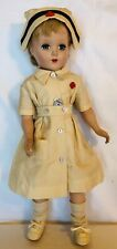 """Charming Vintage Unmarked Hard Plastic Doll Dressed As A Nurse - 16"""" Height"""