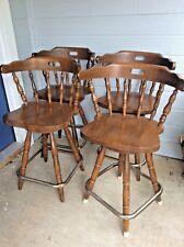 Vtg Wood wooden WINDSOR captain Swivel Chair Bar Stools Yugoslavia mid century