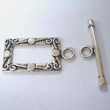 10 Conjuntos De Plata Tibetana rectángulo Alterna Broches-a6410