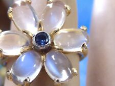VINTAGE 18K YELLOW GOLD FINE MOONSTONE AND BLUE SAPPHIRE LADIES RING SZ 4.75