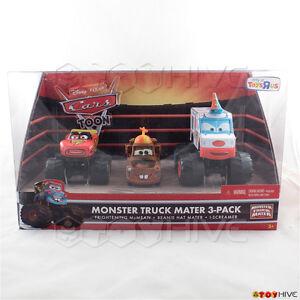 Disney Pixar Cars Toon Monster Truck Mater 3-Pack McMean Beanie Mater I-Screamer