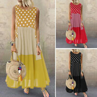 Women Polka Dot Long Shirt Dress Plaid Check Summer Tank Dress Maxi Dress Plus