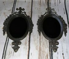 Small Vintage Mirror Frames Ornate Oval Antique Brass Metal Made In Italy