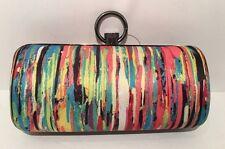 PRABAL GURUNG Multi Color Satin and Gunmetal Clutch Handbag, Brand New