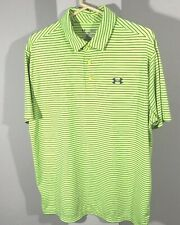 Men's Under Armour striped Polo size Large. Loose. Heat Gear. Lime Green