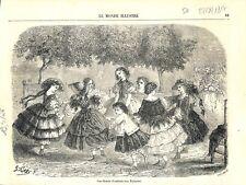 Ronde d'enfants robe a volant au Jardin des Tuileries à Paris GRAVURE PRINT 1857