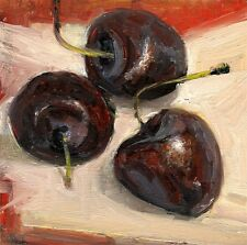 "Three Red Cherries, Still life Painting 4x4"" Oil on panel Hall Groat Sr."