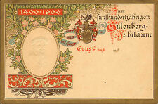 More details for postcard .1400 -1900 500 year year jubilee of art nouveau . gutenburg embossed .