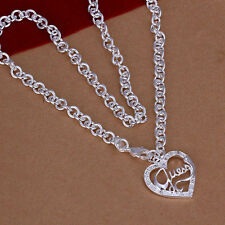 Stunning 925 Sterling Silver Guess My Heart Love Pendant Link Chain Necklace