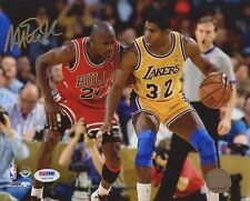 MAGIC JOHNSON LAKERS SIGNED AUTOGRAPH 8X10 PHOTO W/ MICHAEL JORDAN PSA ITP