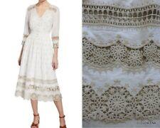 NWT ELIE TAHARI $398 sz/6 Mosaic Lace-trim Embroidered DARCI button-front Dress