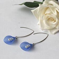 Blue Floral Drop Earrings Handmade Uk Seller