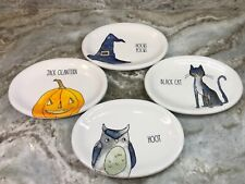 Halloween Oval Side Plates Rae Dunn Owl, Cat, Pumpkin And Witch Hat. New.
