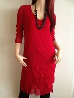 BNWT EVERSUN LADIES 3/4 SLEEVE RUFFLED MESH RED TUNIC DRESS TS SIZE 20 AU