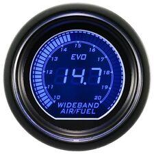 52mm Digital EVO Gauge Air Fuel Ratio Wideband Meter RED/BLUE LED SMOKE+Sensor