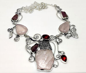 43 Gram Natural Exotic Rose Quartz Rough, Garnet Cut Designer Jewelry Necklace