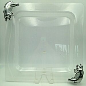 Acrylic Serving Tray Platter with Metal Lazy Pig Handles 15 Inch Square