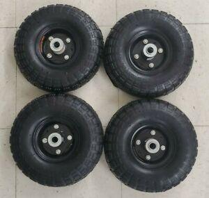 4-PACK 10 in Haul-Master Pneumatic Tire Wheel GO CART 4.10/3.50-4 w/ BLACK HUB