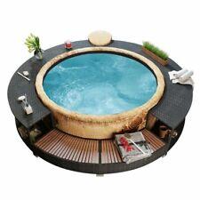 vidaXl Spa Surround Poly Rattan Black Garden Outdoor Patio Massage Hot Tub