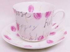 Amour Rose Large Cup & Saucer Bone China Love Roses Breakfast Set Decorated UK