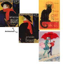 3 Poster Art Lenticular 3D Postcards - Steinlen Cat, Toulouse-lautrec, Art Deco