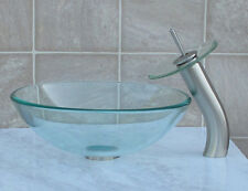 Bathroom Glass Vessel Vanity Sink + Nickel Faucet T12L4