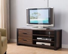 "47"" Entertainment Center Console Dark Walnut Cabinet TV Stand"
