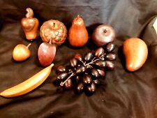 Lot of 9 Vintage Wood Wooden Fruit Vegetables (A015)