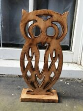 VINTAGE FRET WORK HAND MADE WOOD SCULPTURE OWL BIRD FIGURE FIGURINE