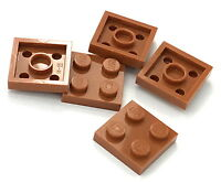 Lego 5 New Dark Orange Plates 2 x 2 Dot Pieces