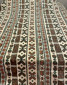 Fabric Shower Curtain Tribal Print Cotton Archana Fabric Geometric African India