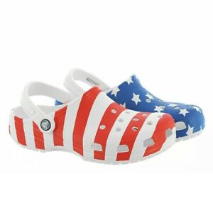 Crocs Classic American Flag Clogs Men Size 7 Womens 9 Stars Stripes Patriot