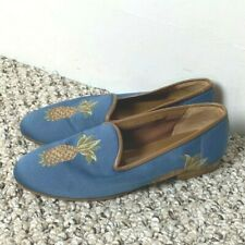 Made in Spain Women's Shoes Size 7.5 M Leather Sole Pineapples Blue Brown Green
