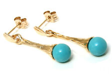9ct Gold Turquoise and flute drop Earrings Gift Boxed Made in UK
