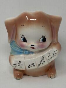Vintage Ceramic RUBENS Dog Puppy Baby PLANTER Flower Arrangement Nursery Decor