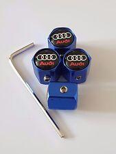 AUDI Blue Wheel Valve Dust caps ANTI THEFT RS TT R8 S LINE S5 S6 A4 A6 A5 A3