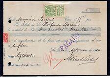 Recibo Timbrado con local de Sevilla del año 1936 (CZ-893)