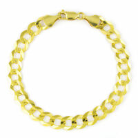 14K Yellow Gold Solid 8mm Real Curb Cuban Chain Link Bracelet Lobster Clasp 8.5""
