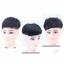 Human Hair Topper Clip in Hairpiece Toupee Top Piece Short Hairpiece Men Black
