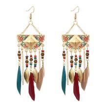 Boho estilo colgantes pendientes tribales//con Borlas Cadena de oro /& Plumas vendedor del Reino Unido